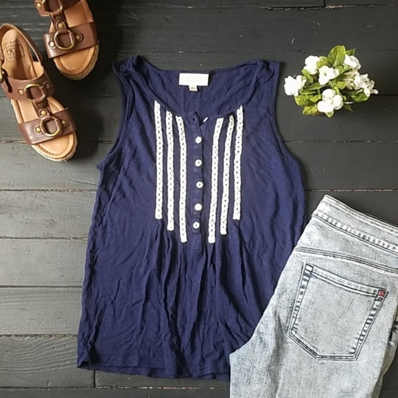 Anthropologie Tops - Anthropologie Blue and White Tank blouse